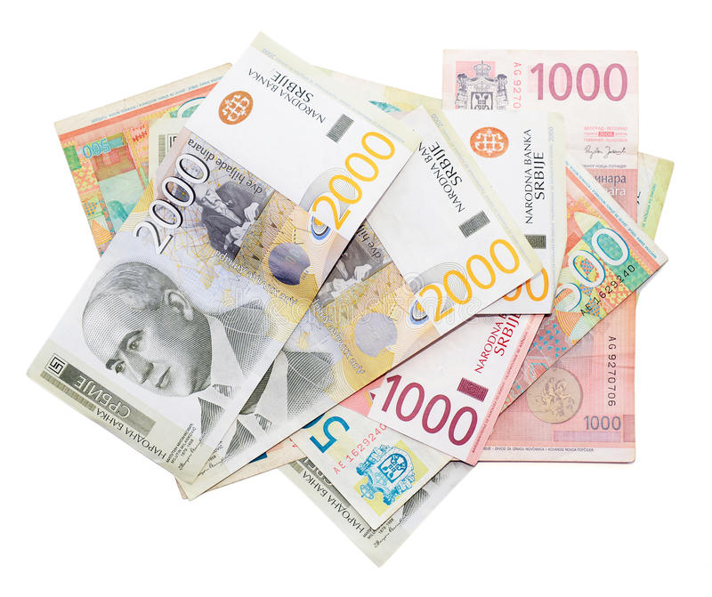 Serbiska pengar arkivbild