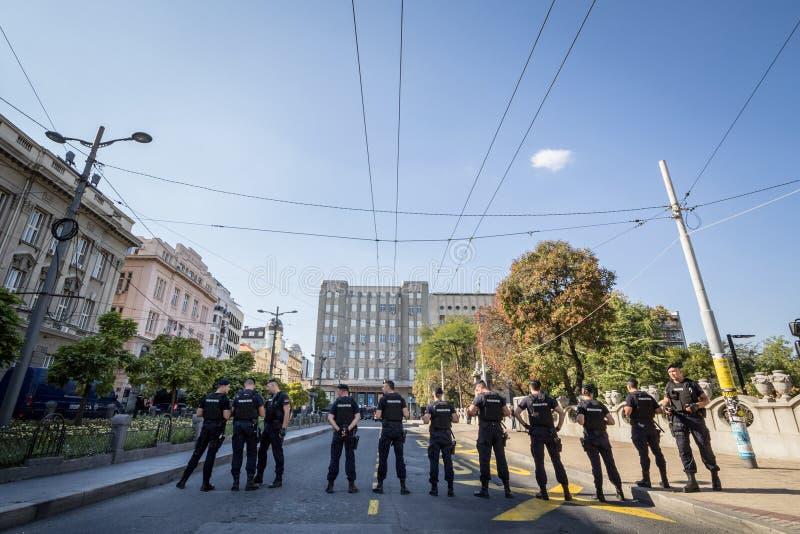 Serbiska poliser som skyddar Belgrade 2018 Gay Pride som bär anti-tumultkugghjulet i mitten av huvudstaden av Serbien royaltyfri foto