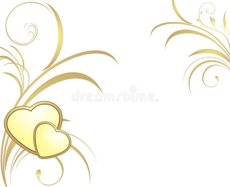 serc dekoracyjni złoci sprigs dwa ilustracja wektor