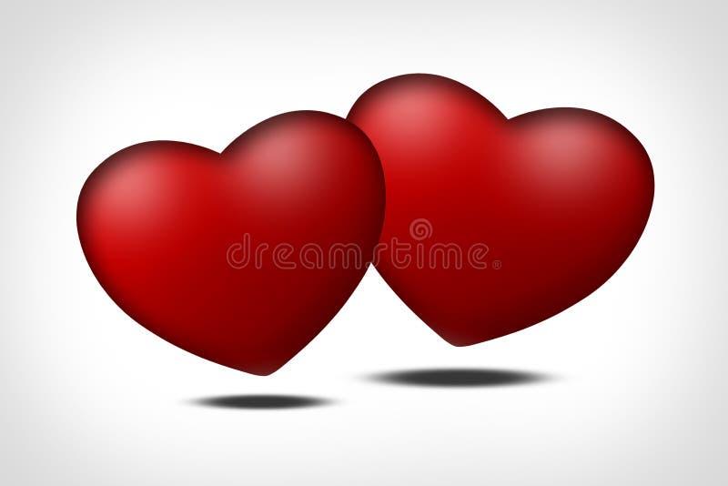 serc miłości czerwony symbol dwa ilustracji