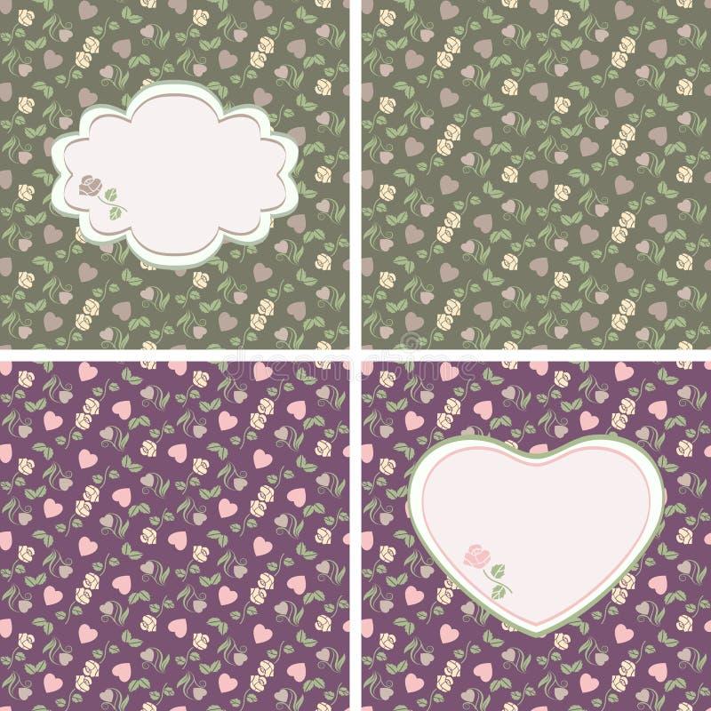serc wzorów róż bezszwowy valentine royalty ilustracja
