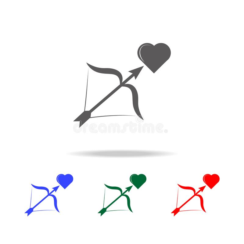 serca, łęku i strzała ikony Elementy ślub w wielo- barwionych ikonach Premii ilości graficznego projekta ikona Prosta ikona dla n royalty ilustracja