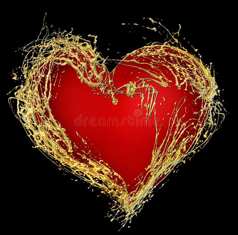 serca abstrakcjonistyczny złoty valentine s royalty ilustracja