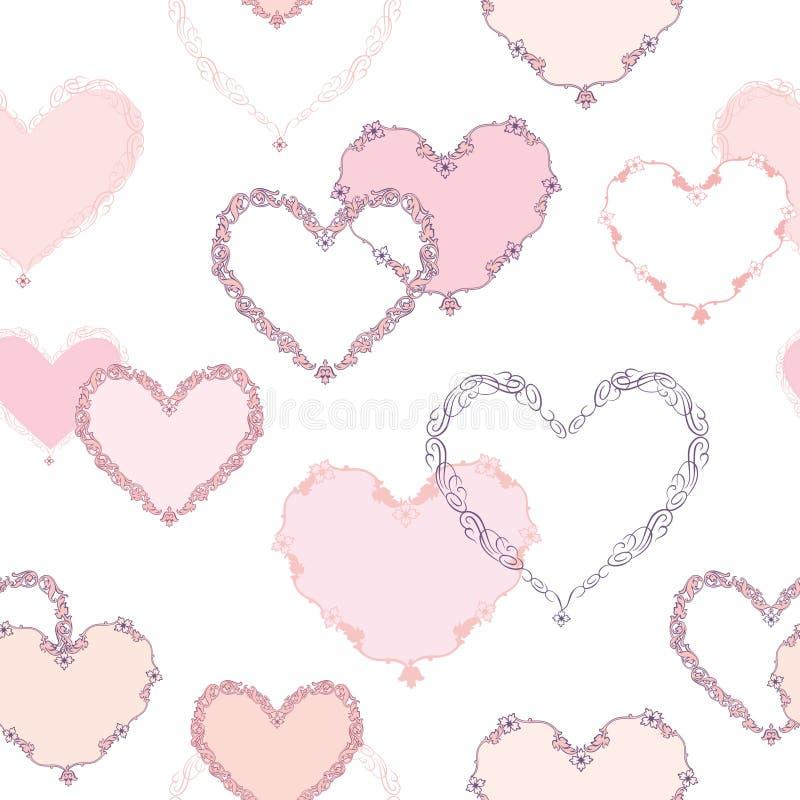 serca bezszwowy deseniowy Walentynki karciany wakacyjny tło ilustracji