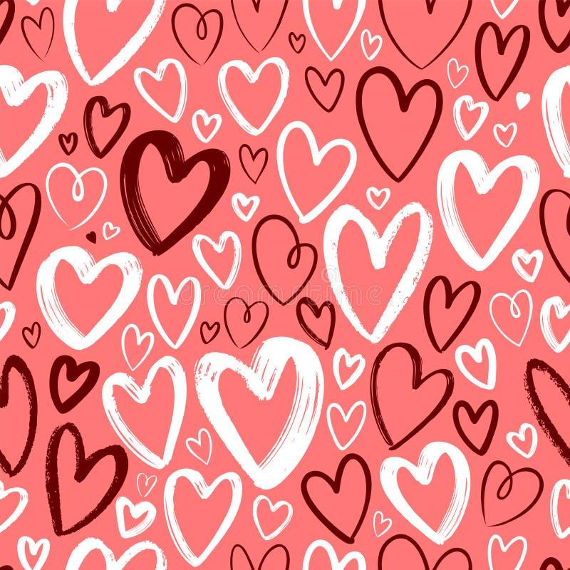 Serca, bezszwowy tło Ręka rysująca wektorowa ilustracja ilustracja wektor