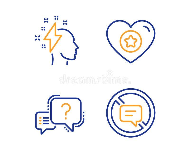 Serca, Brainstorming i znak zapytania ikony ustawia?, Zatrzymuje opowiada? znaka Gwiazdowa ocena, B?yskawicowy rygiel, quiz gadka ilustracji
