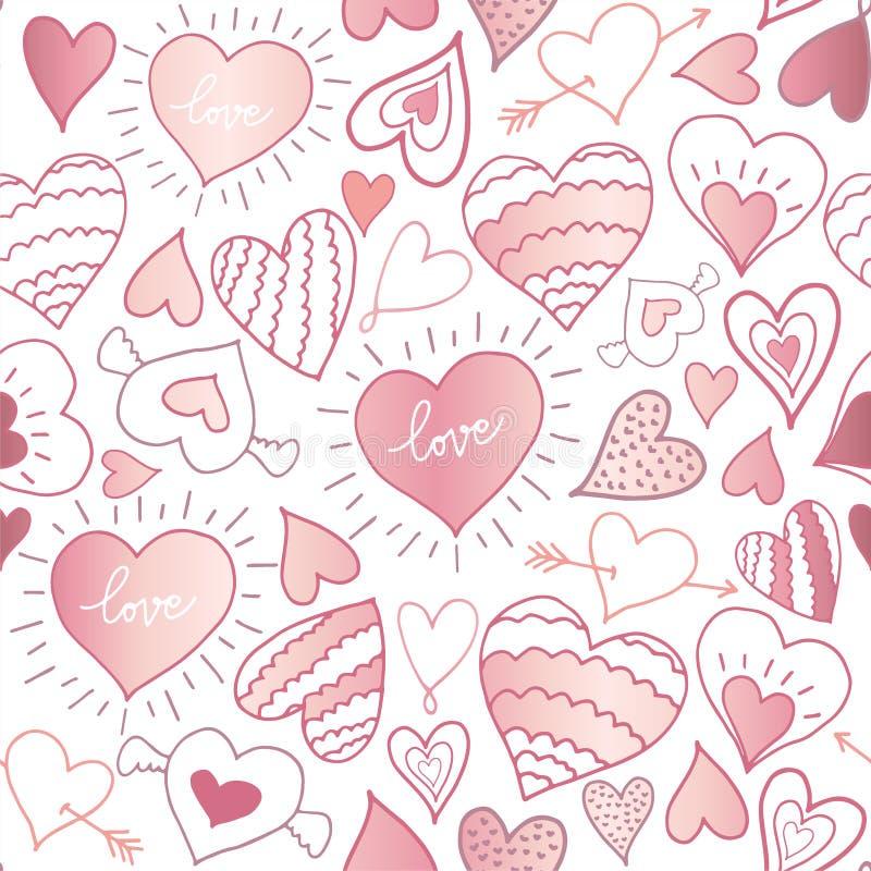 serca deseniują bezszwowego rysunkowej elementów wolnej ręki naturalny stylizowany Może używać na pakować papier, tkanina, tło dl royalty ilustracja