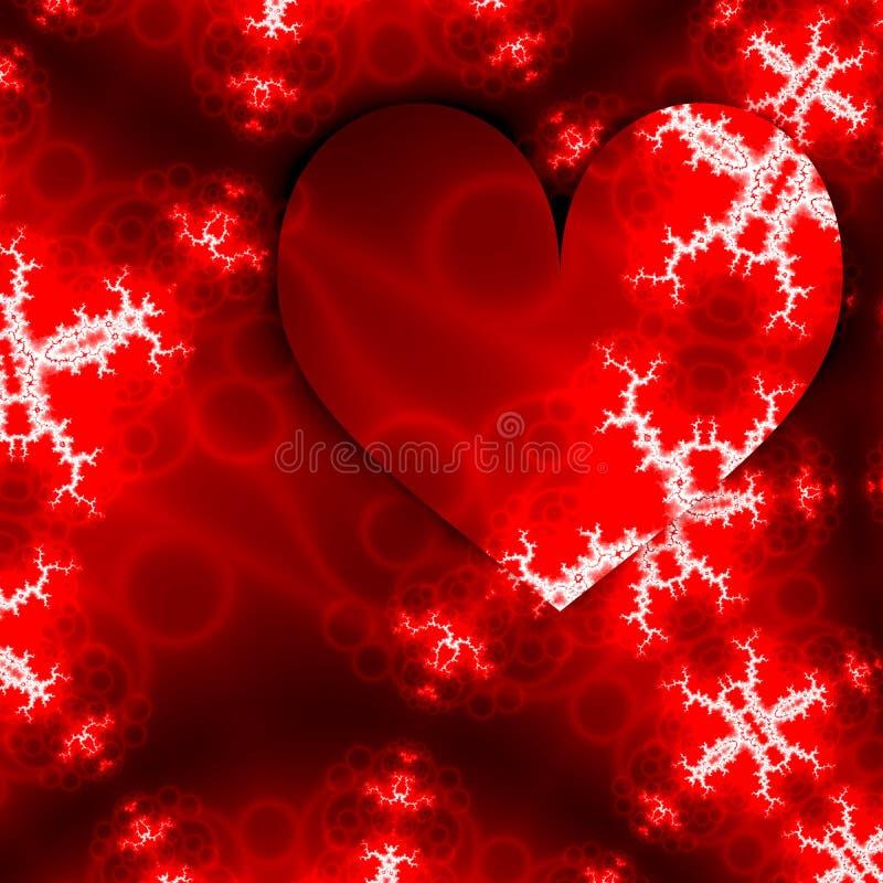Serca dla świętowanie projekta Kocha szczęśliwą valentines dnia kartę z czerwonymi sercami ramowymi i białymi fractals w formie s ilustracji