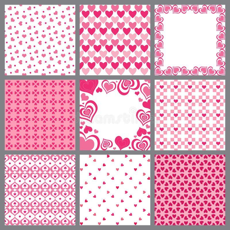 serca dziewięć wzorów valentine ilustracja wektor