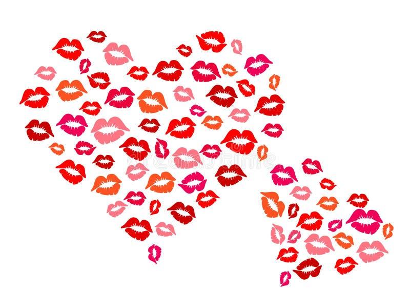Serca i buziaki ilustracji