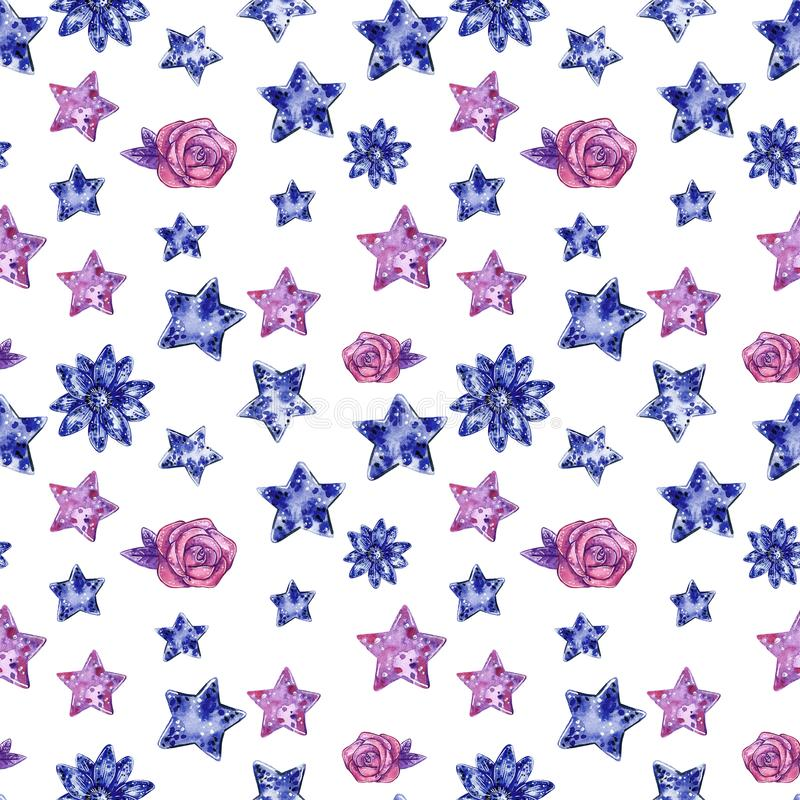 Serca i gwiazdy purpurowy i b??kit barwi? bezszwowego wz?r, akwareli ilustracja ilustracji