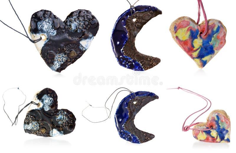 Serca i księżyc kolia ceramiczna, handmade, biżuteria w mieszance kolory błękitni, biały, brown, żółty, czerwony, zieleń zdjęcie royalty free