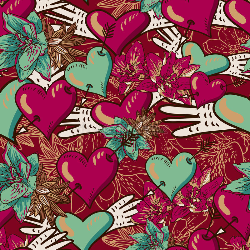 Serca i kwiatu Bezszwowy tło royalty ilustracja