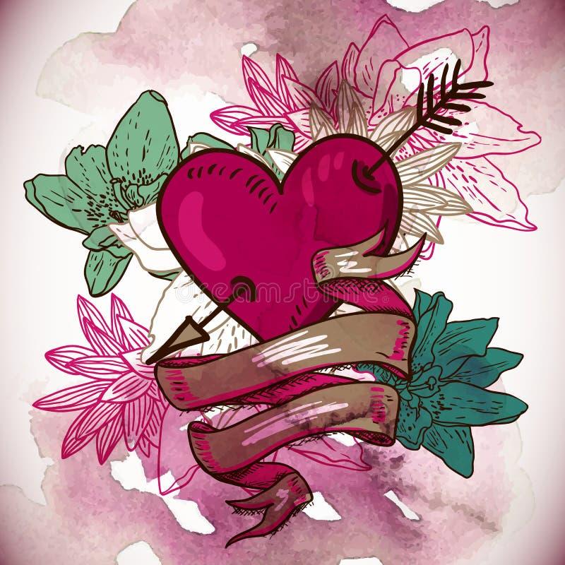 Serca i kwiatu wektoru ilustracja ilustracja wektor