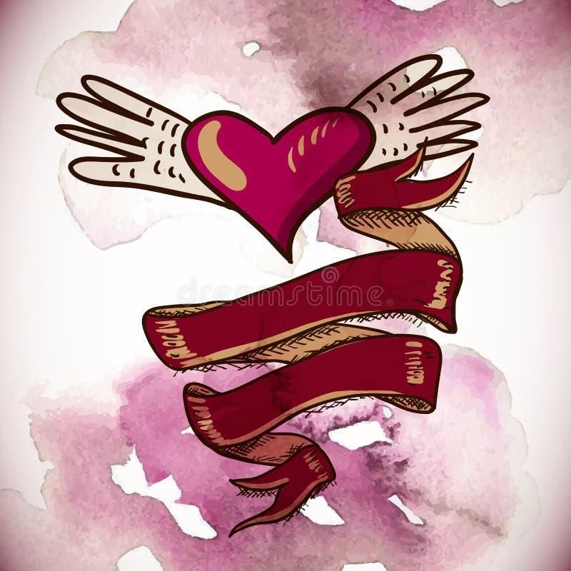 Serca i kwiatu wektoru ilustracja royalty ilustracja