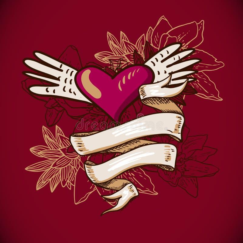 Serca i kwiatu wektoru ilustracja ilustracji