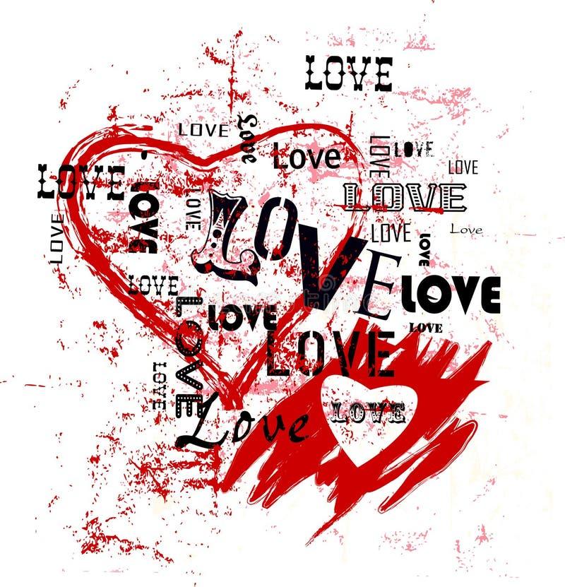Serca i miłości ilustracja, grunge styl, wektor ilustracja wektor