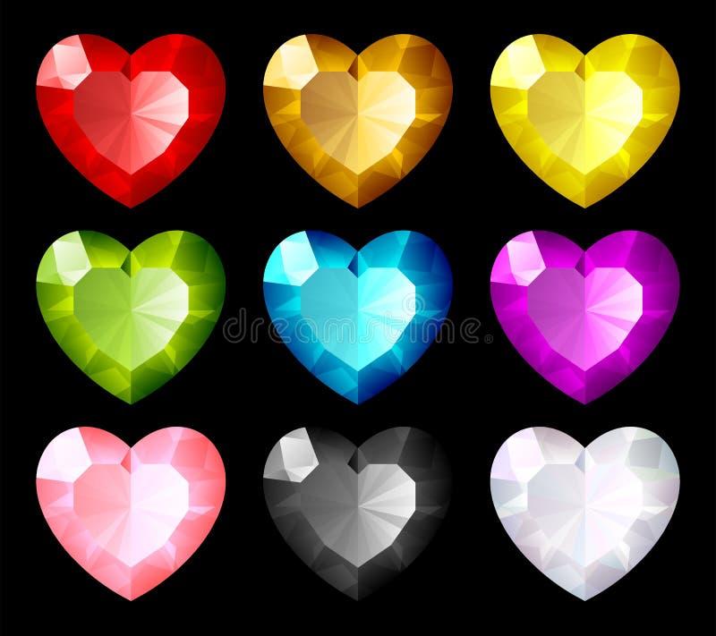 serca jewel setu wektor ilustracji