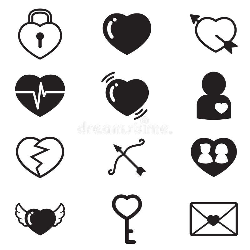 Serca, kochanek, pary pojęcia ikony ustawiać royalty ilustracja