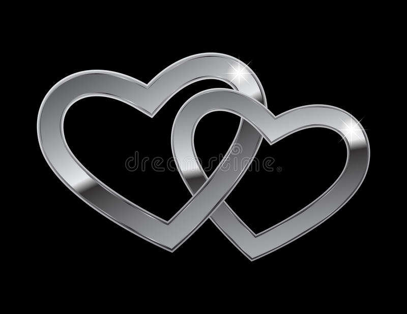 serca metal dwa ilustracja wektor