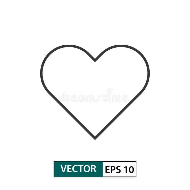Serca, miłości ikona/ Konturu styl 10 eps ilustracyjny os?ony wektor royalty ilustracja