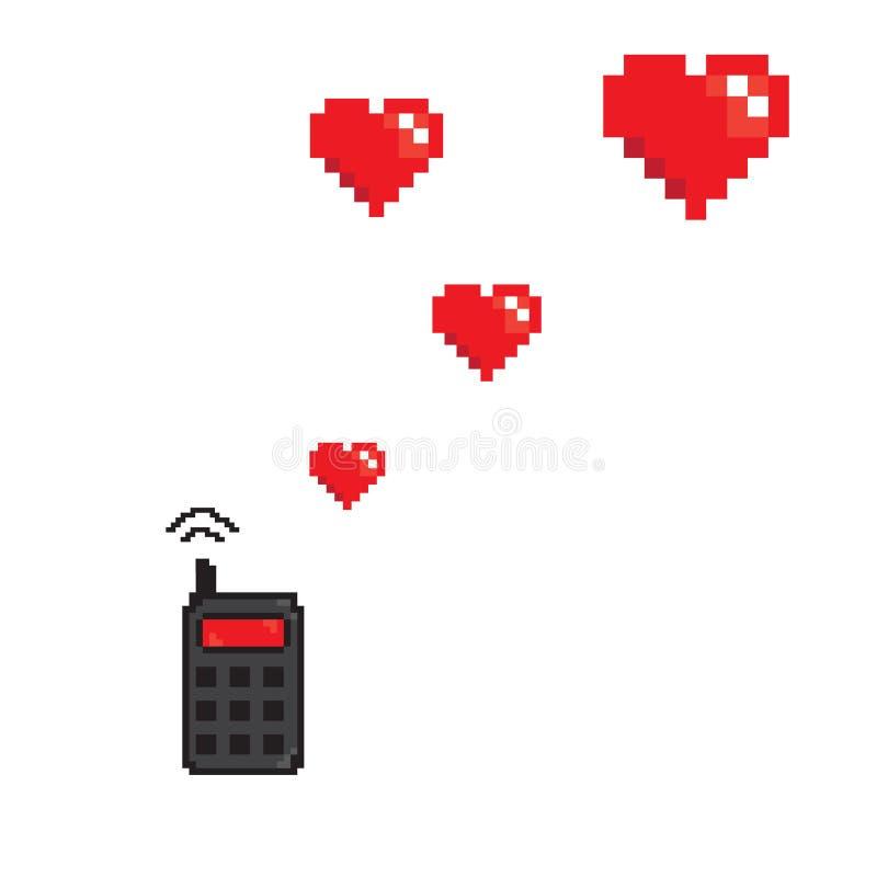 Serca od telefonów komórkowych piksli sztuki stylu ilustracja wektor