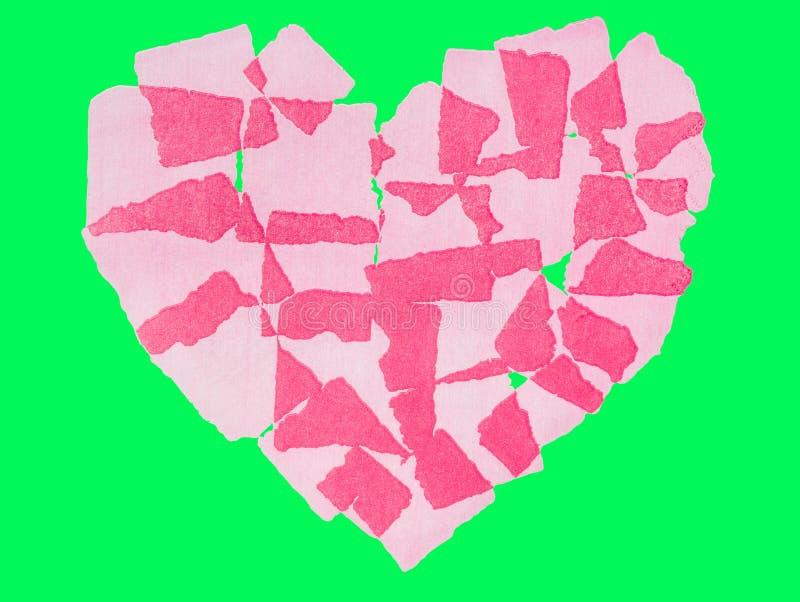 Serca papierowy abstact Odizolowywający na zieleń ekranu chroma kluczu fotografia stock