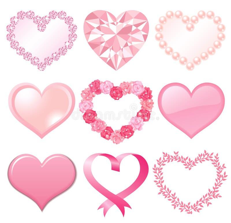 serca różowią set royalty ilustracja