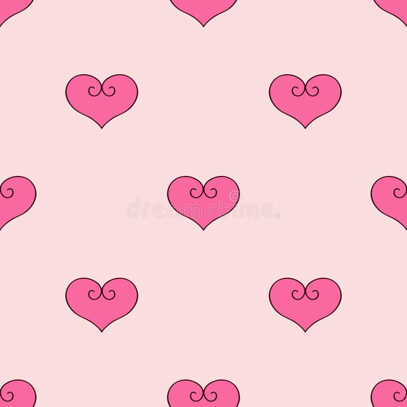 Serca różowy tło Tkanina scrapbooking ilustracja wektor