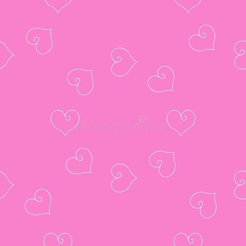 Serca różowy tło Tkanina scrapbooking royalty ilustracja