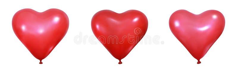 serca się czerwone Realistyczne balonowe dekoracje dla walentynka dnia Set kierowi balony royalty ilustracja