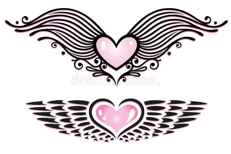 Serca, skrzydła ilustracja wektor