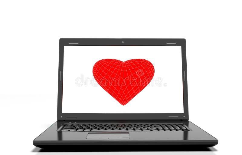 Serca tło na nowożytnym laptopie odizolowywającym ilustracji