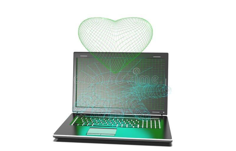 Serca tło na nowożytnym laptopie odizolowywającym ilustracja wektor