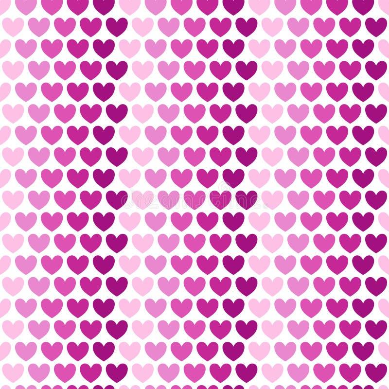 Serca układający w liniach Różni cienie menchie na elementach miłość Wektoru deseniowy bezszwowy na białym tle royalty ilustracja