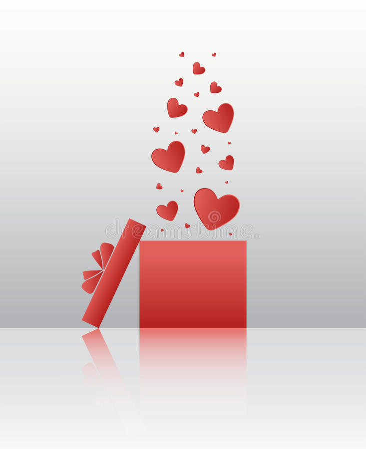Serca unosi się z pudełkowatego wektoru ilustracji