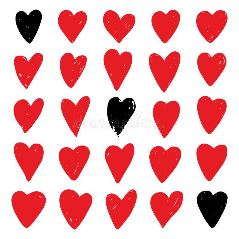 Serca ustawiają, czerwonej i czarnej ręki rysujący serca, ilustracji