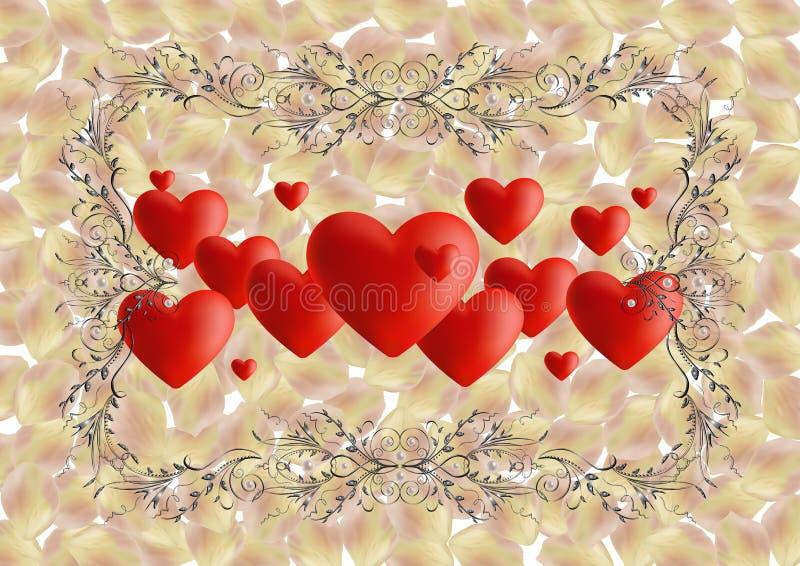 Serca z ozdobnymi ramowymi i różanymi płatkami ilustracja wektor