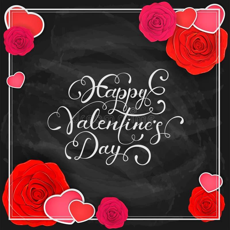 Serca z różami i Szczęśliwy walentynka dzień na czarnym chalkboard b ilustracja wektor