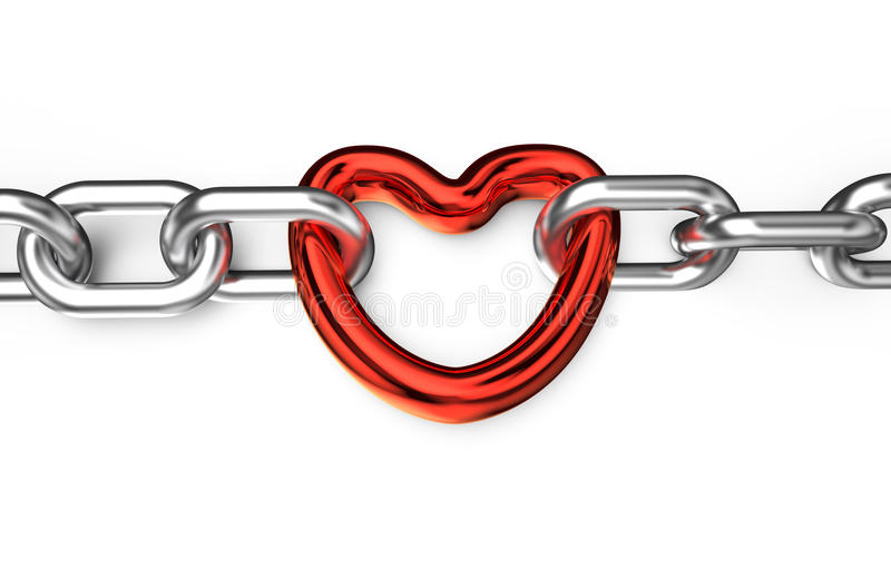 Serce łączący łańcuch ilustracja wektor