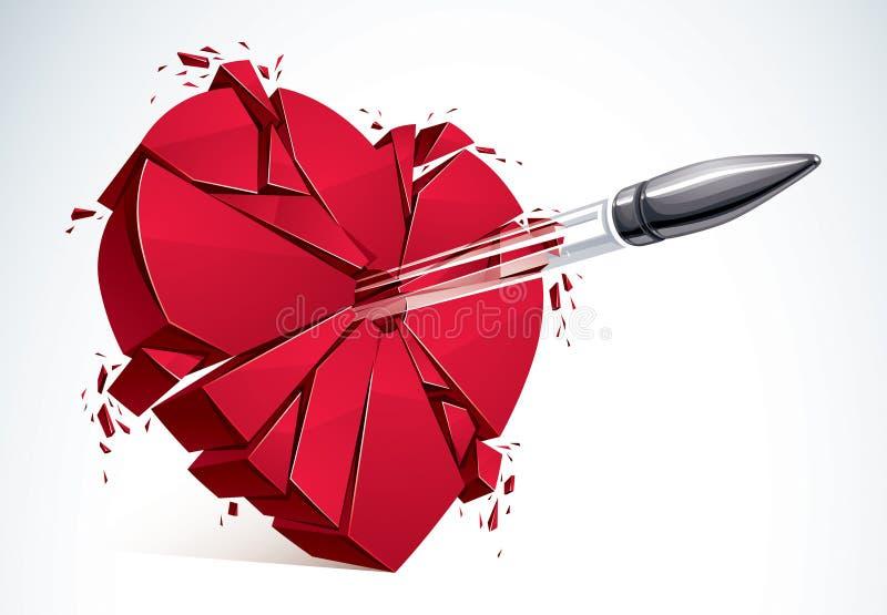 Serce łamający z pociska pistoletu strzałem, 3D realistyczny wektorowy illustrat ilustracji