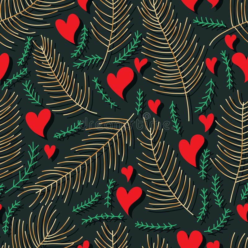 Serce żadny zna gdzie iść liścia stylu linii bezszwowy wzór ilustracji