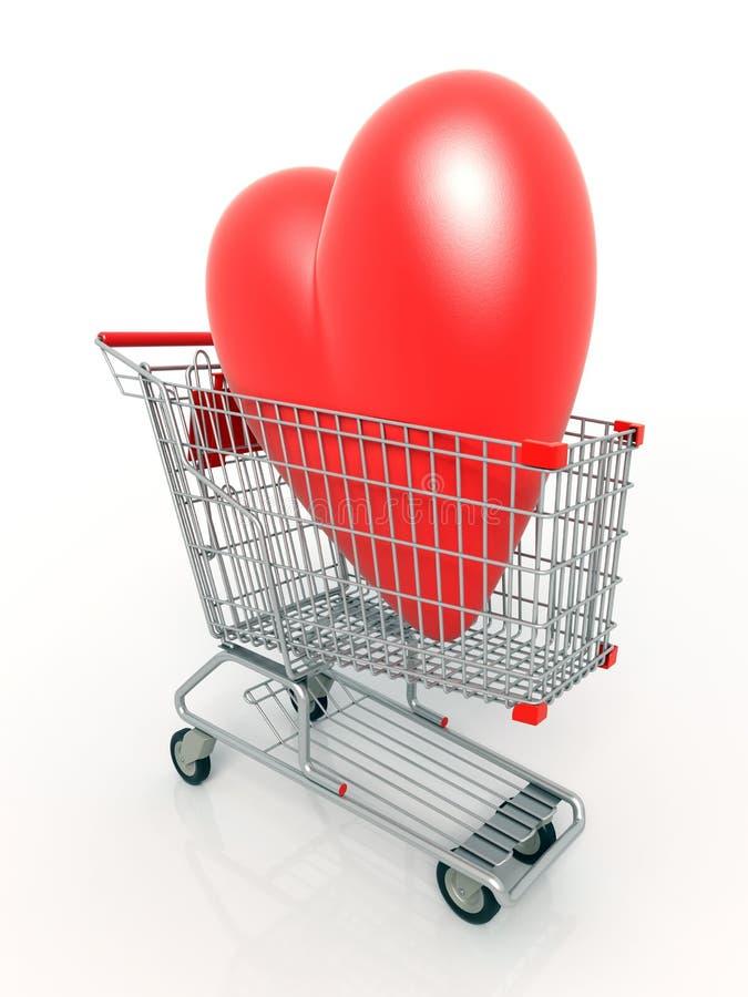 serce 3 d wózka na zakupy ilustracja wektor