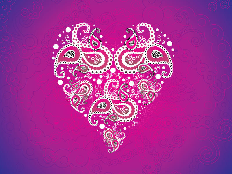 Serce abstrakcjonistyczna artystyczna różowa tapeta ilustracja wektor