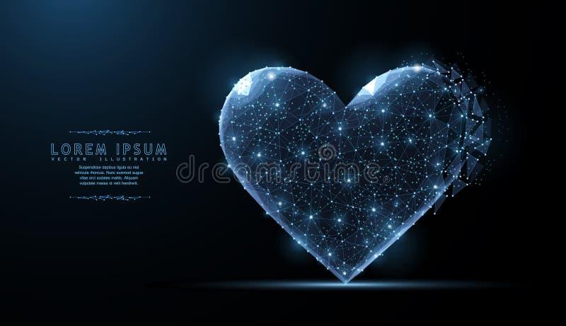 Serce Abstrakcjonistyczni poligonalni wireframe siatki sztuki spojrzenia jak gwiazdozbiór Walentynki, powitanie, zdrowie, kardiol royalty ilustracja