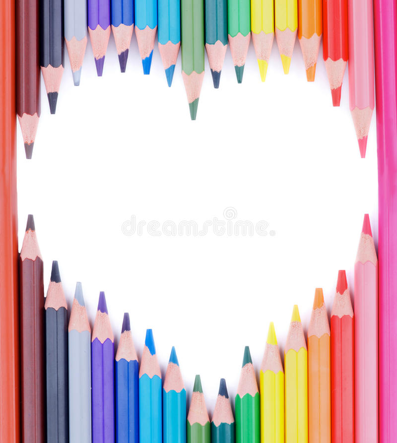 Serce Barwioni ołówki obrazy stock