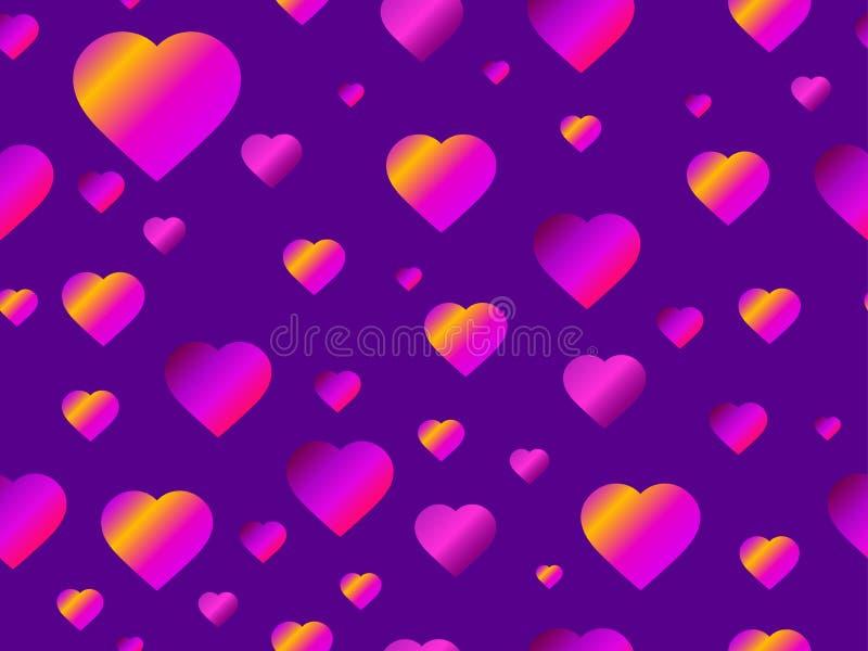Serce bezszwowy wzór z purpurowym gradientem Futurystyczny nowożytny trend wektor ilustracji