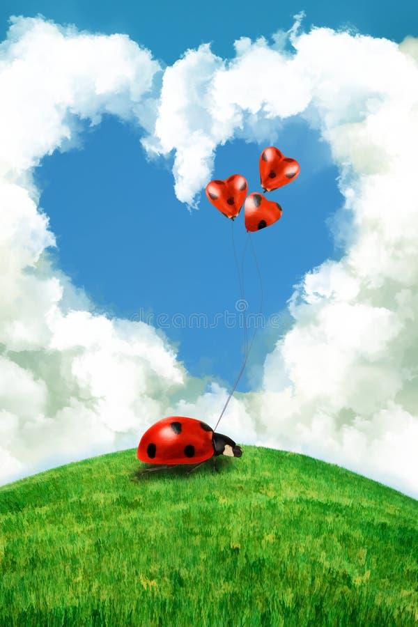 Serce biedronka z kierowymi balonami i chmura ilustracja wektor