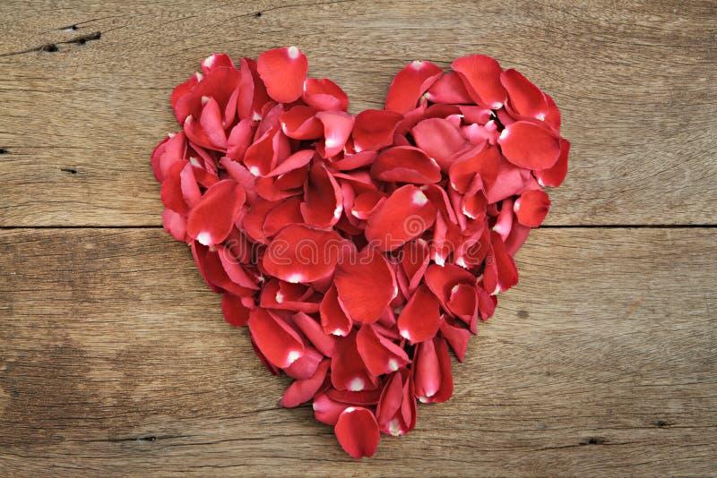 Serce czerwieni róży płatki na drewnianym Walentynka dzień, rocznica zdjęcia stock