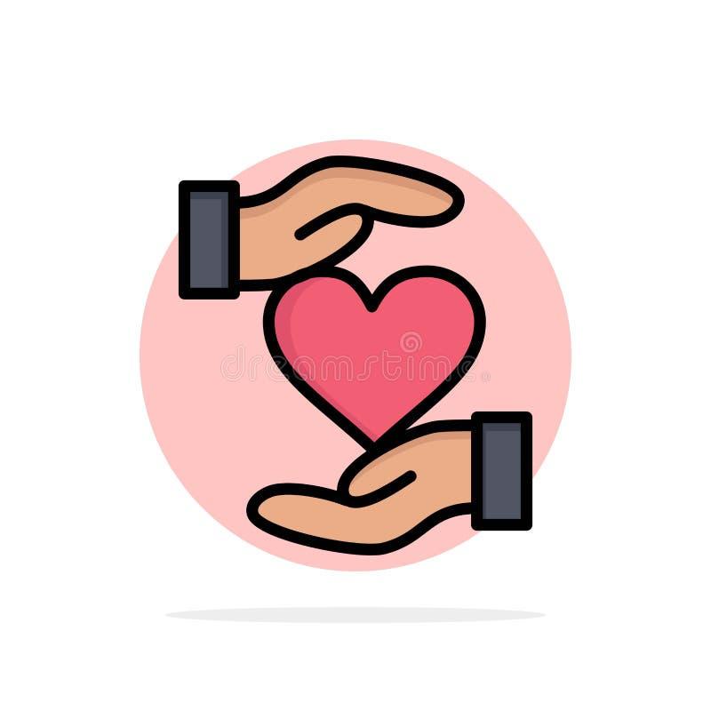 Serce, Daje, Wręcza, faworyt, miłość okręgu Abstrakcjonistycznego tła koloru Płaska ikona royalty ilustracja
